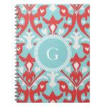 Modern turquoise red ikat tribal pattern monogram notebook