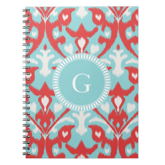 Modern turquoise red ikat tribal pattern monogram spiral notebooks