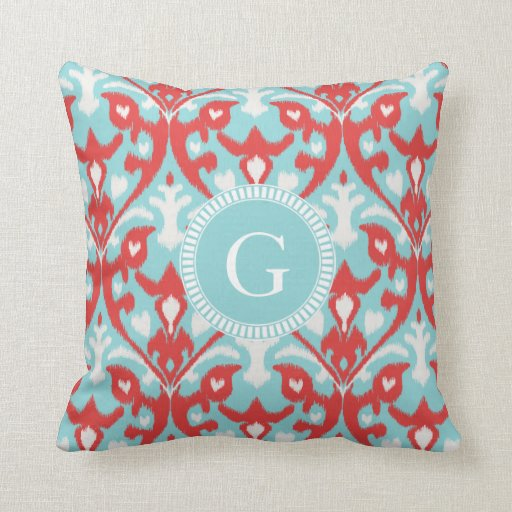 Modern turquoise red ikat tribal pattern monogram throw for Turquoise and red throw pillows