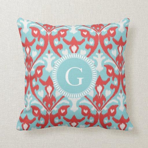 Modern turquoise red ikat tribal pattern monogram throw pillow Zazzle