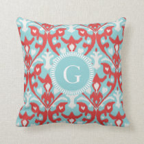 Modern turquoise red ikat tribal pattern monogram throw pillow