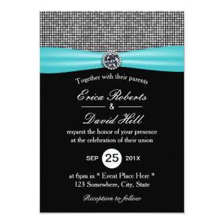 Modern Turquoise Ribbon Silver Glitter Wedding Card