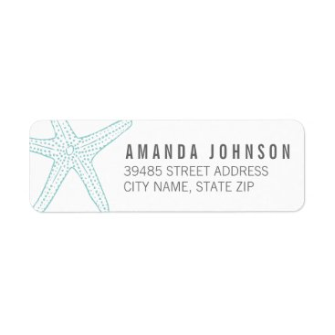 Beach Themed Modern Turquoise Starfish Return Address Label