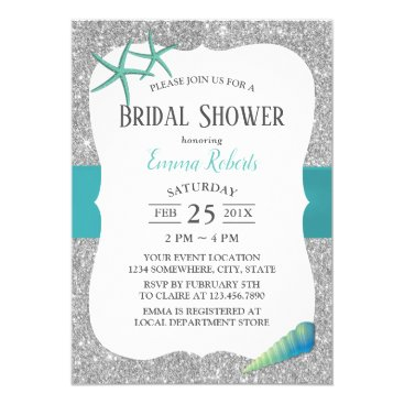 Modern Turquoise Starfish Silver Bridal Shower Card