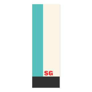 Modern Turquoise Stripe Mini Business Card