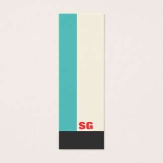 Modern Turquoise Stripe Mini Business Card