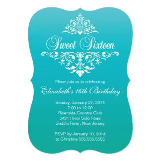 Modern Turquoise Sweet Sixteen Birthday Party 5x7 Paper Invitation Card