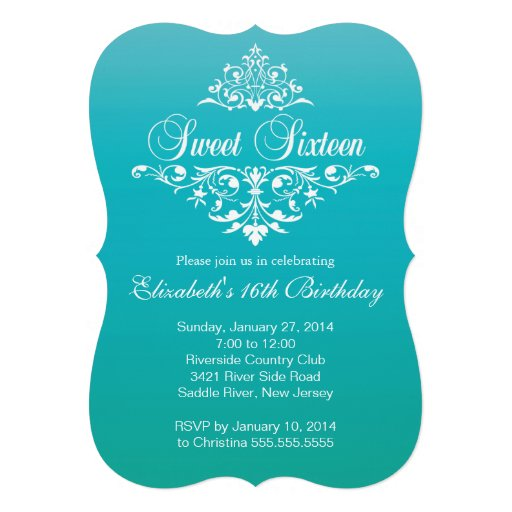 Modern Turquoise Sweet Sixteen Birthday Party Personalized Announcements