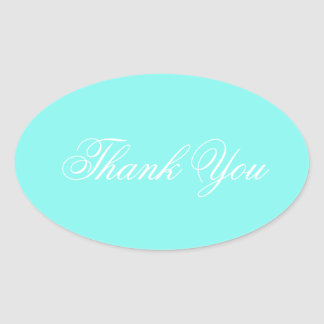 modern turquoise  tiffany blue wedding thank you oval sticker