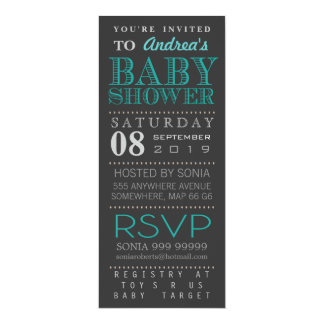 Modern Turquoise Typography Baby Shower Long 4x9.25 Paper Invitation Card