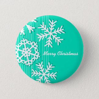 Modern turquoise white Christmas white snowflakes Button