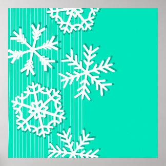 Modern turquoise white Christmas white snowflakes Print