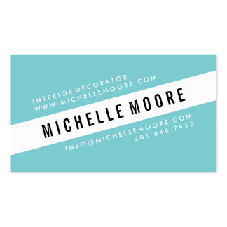 Modern turquoise white moroccan pattern decorator business card