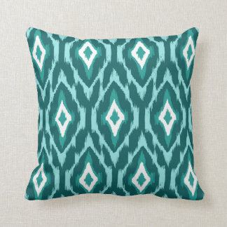 Modern turquoise white teal Ikat Tribal Pattern 1a Throw Pillow