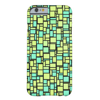 Modern turquoise yellow abstract tile sample barely there iPhone 6 case