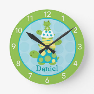 Modern Turtle Frog Personalized Nursery Wall Clock