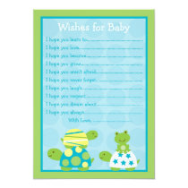 Modern Turtle Frog Wishes for Baby Advice Cards