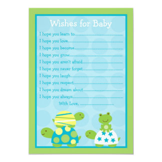 Modern Turtle Frog Wishes for Baby Advice Cards Invitations