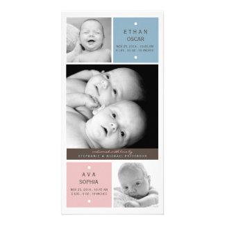 Modern Twin Babies Photo Birth Announcement
