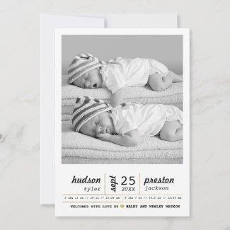 Modern Twin Birth Announcement
