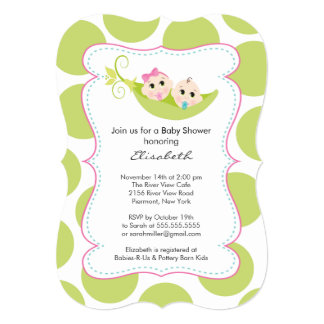 Modern Twin Boy Girl In Pea Pod Baby Shower Card