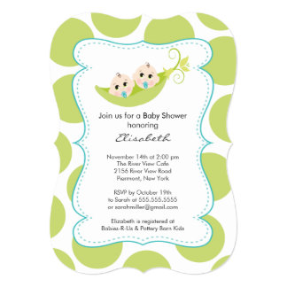 Modern Twin Boys In Pea Pod Baby Shower Personalized Invites