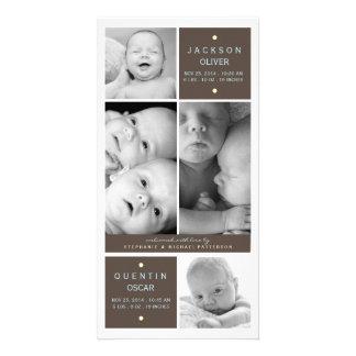 Modern Twin Boys Photo Baby Birth Announcement Photo Card Template