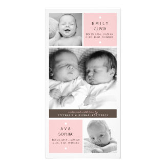 Modern Twin Girls Photo Baby Birth Announcement