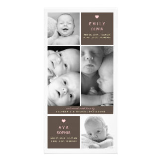 Modern Twin Girls Photo Baby Birth Announcement Personalized Photo Card