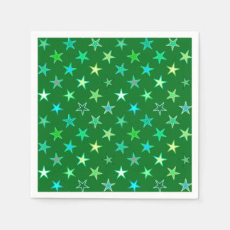 Modern Twinkling Stars, Emerald and Lime Green Napkin