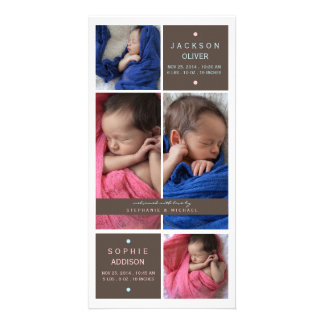 Modern Twins Photo Boy Girl Birth Announcement Picture Card