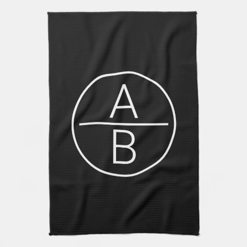 Modern Two Initials Monogram Hand Towel