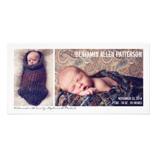 Modern Two Photo Baby Boy Birth Announcement