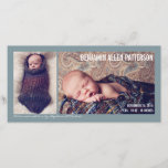 """Modern Two Photo Baby Boy Birth Announcement<br><div class=""""desc"""">Introduce your little one to the world with this beautiful modern birth announcement by katkadoodle.com.  Bold typography and simple styling features two portrait photos of your sweet baby against a denim hued steel blue gray background.</div>"""