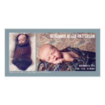 Modern Two Photo Baby Boy Birth Announcement