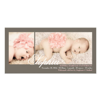 Modern Two Photo Baby Girl Birth Announcement