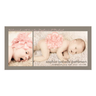 Modern Two Photo Baby Girl Birth Announcement Photo Card