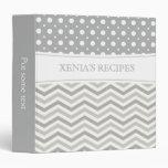 Modern two tone grey, white chevron & polka dot vinyl binders