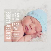 Modern Type | Baby Boy Photo Birth Announcement Postcard