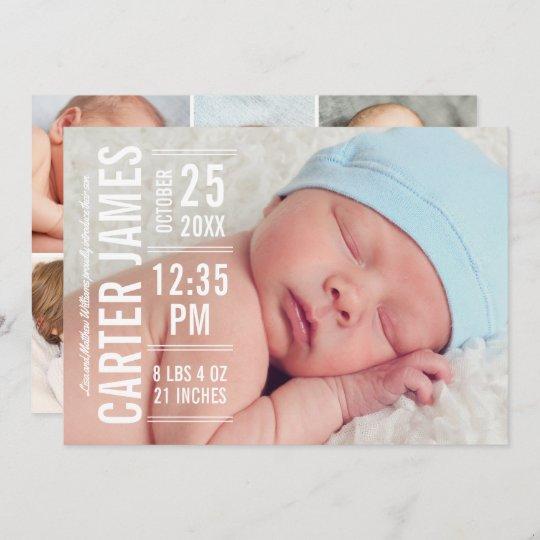 Modern Type Baby Boy Photo White Text Birth Announcement
