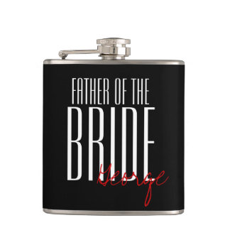 Modern Type Father of the Bride Personalized Hip Flask