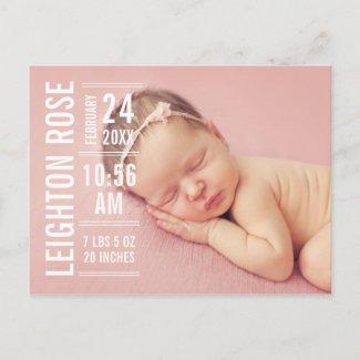 Modern Type | Girl Photo Birth Announcement Postcard
