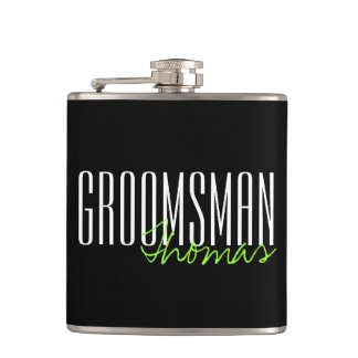 Modern Type Groomsman Personalized Bridal Party Flask