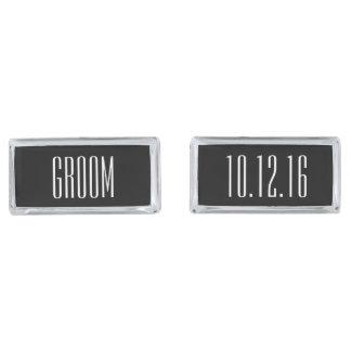 Modern Type Personalized Groom Silver Cufflinks