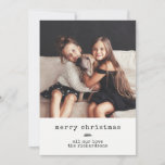 """Modern Typewriter   Holiday Photo on Black Gingham<br><div class=""""desc"""">This simple and stylish holiday card says """"merry christmas"""" in typewriter text,  with a trendy botanical branch and your favorite personal photo. The background is decorated with a black gingham pattern.</div>"""