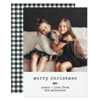 Modern Typewriter   Holiday Photo on Black Gingham Card