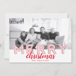 Modern Typographic Light Pink and Red Photo Holiday Card