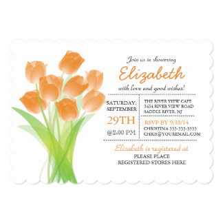 Modern Typographic Orange Tulip Bridal Shower Card