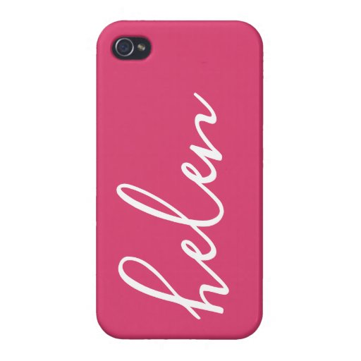 Modern Typographic Script Personalized in Pink Case For iPhone 4