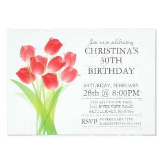 Modern Typographic Tulip Flowers Birthday Party 5x7 Paper Invitation Card
